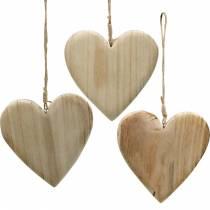 Holzherz zum Hängen Natur Deko-Herzen Valentinstag Muttertag 3St
