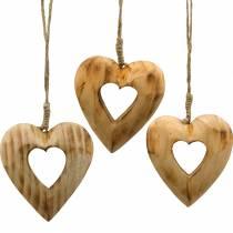 Dekoanhänger Herz, Herzen aus Holz, Valentinstag, Holzanhänger, Hochzeitsdeko 6St