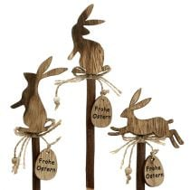 "Holzstecker Hase ""Frohe Ostern"" 23cm 6St"