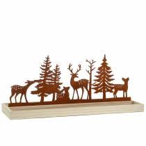Holztablett Wald mit Tieren 50cm x 17cm