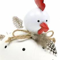Dekofigur Huhn weiß mit Punkten und Federn H13cm