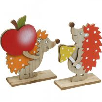 Herbstfigur, Igel mit Apfel und Pilz, Holzdeko Orange/Rot H24/23,5cm 2er-Set