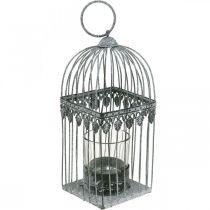 Kerzendeko, Vogelkäfig mit Teelichtglas, Metalllaterne, Hochzeitsdeko, Windlicht 22cm