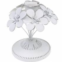 Frühlingsdeko, Metall-Leuchter mit Blumen, Hochzeitsdeko, Kerzenhalter, Tischdeko