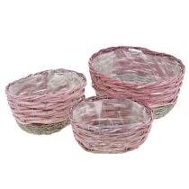 Korb oval 3er-Set Rosa, Natur