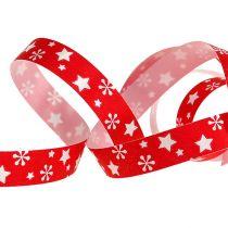 Kräuselband rot mit Stern-Muster 10mm 150m