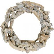 Deko Kranz Holz Wurzelkranz Weiß gewaschen Ø35cm H9cm