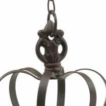 Metallkrone zum Hängen mit Haken Rostbraun Ø11cm H17cm