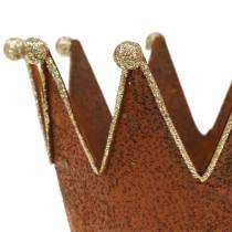 Dekotopf Krone Edelrost Gold Ø13,5cm H11,5cm 2St