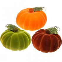 Deko-Kürbis beflockt Mix Orange, Grün, Rot Herbstdeko 16cm 3St