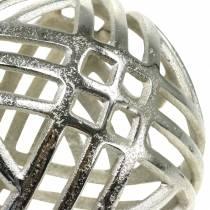 Deko Kugel durchbrochen Metall Silber Ø20cm