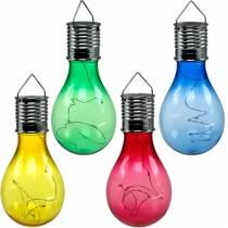 Gartendeko Solar LED Glühlampe Bunt Sortiert 15cm 4St
