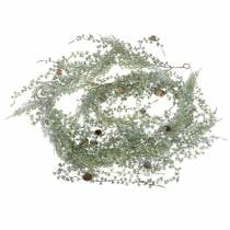 Lärchengirlande Grün/Geeist mit Zapfen 180cm