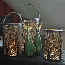 Windlicht aus Metall, Laterne mit Baum, Herbstdeko, Schwarz, Golden Ø20/19/14cm H23,5/17/12,5cm