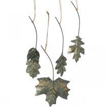 Blätter Metall zum Hängen Antik Grau Herbstblätter 7,5-10cm 4St
