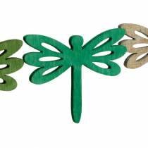 Libellen zum Streuen, Sommerdeko aus Holz, Tischdeko Grün 48St