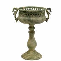 Deko-Pokal Antikoptik Metall Moosgrün Ø19cm H35,5cm
