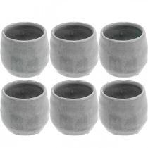 Keramik-Übertopf, Mini-Pflanztopf, Keramikdeko, Windlicht Wellenmuster Ø8cm 6St