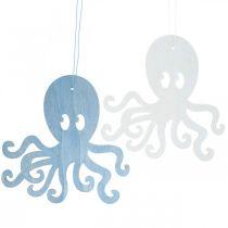 Oktopus zum Hängen Blau, Weiß Krake aus Holz Maritime Sommerdeko 8St