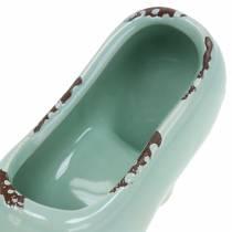 Pflanzgefäß Damenschuh Keramik Türkis, Grün, Blaugrau Sortiert 14×5cm H7cm 6St