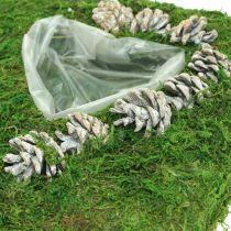 Pflanzkissen Herz Moos und Zapfen Weiß gewaschen 25×25cm
