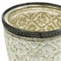 Teelichtglas Pokal Bauernsilber floral Ø9cm H13,5cm