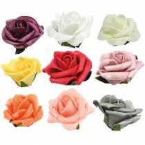 Foam-Rose Ø6cm verschiedene Farben 27St
