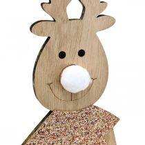 Rentier Holz Dekofigur Aufsteller Weihnachten 12×6,5cm H45cm 2St