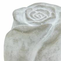 Grabschmuck Rose Grab-Dekoration Beton H10cm 4St