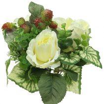 Rosen/Hortensienstrauß Weiß mit Beeren 31cm