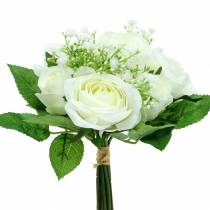 Rosenstrauß mit Schleierkraut Weiß 26cm