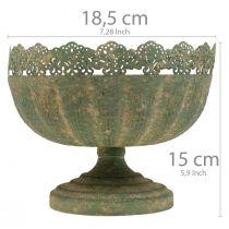 Rustikales Pflanzgefäß, Schale mit Fuß, Metalldeko Antikoptik Ø18,5cm H15cm
