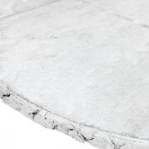 Deko Holzscheibe mit Rinde Weiß Untersetzer Sperrholz Ø20cm