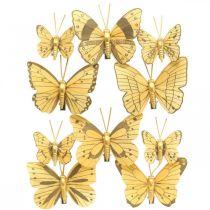 Feder Schmetterling mit Clip Golden Frühlingsdeko 6cm 10St im Set