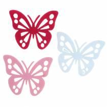 Filzschmetterling Tischdekoration Pink Weiß Rosa Sortiert 3,5x4,5cm 54St