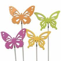 Blumenstecker Schmetterling Holz 7x5,5cm 12St sortiert