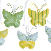 Schmetterling zum Hängen Metall Gelb, Grün, Weiß Sortiert Osterdeko 12St