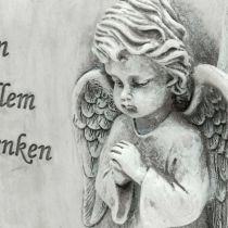 Grabdeko Engel mit Schriftrolle Grau Polyresin 16×20,5cm