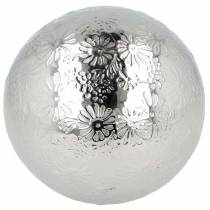 Schwimmkugel Blüten Silbern Metall Ø10cm