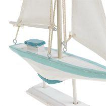 Segelboot Weiß-Blau Holz, Leinen Maritime Deko 30cm