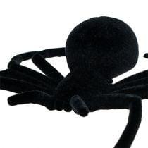 Spinne Schwarz 16cm beflockt
