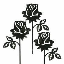 Metallstecker Rose Silber-Grau, Weiß gewaschen Metall 20cm × 11,5cm 8St