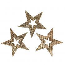 Holz-Stern Gold Streudeko 4cm 48St