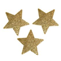 Sterne Gold 6,5cm mit Glimmer 36St
