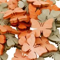 Streudeko Schmetterling Holzschmetterlinge Sommerdeko Orange, Aprikose, Braun 144St
