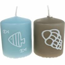 Stumpenkerzen 60/50 Maritime Deko Kerze Sommerdeko Mix Safe Candle 4St