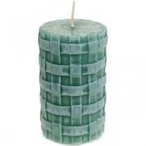 Kerzen mit Flechtmuster, Stumpenkerzen Rustic Grün, Kerzendeko 110/65 2St