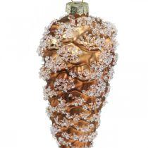 Tannenzapfen mit Schnee, Weihnachtsdeko, Christbaumschmuck Braun H13cm Ø6cm Echtglas 3St