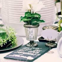 Teelichtglas Pokal Bauernsilber H11cm