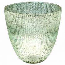 Kerzenglas Windlicht Blau Grün Tischdeko Glas Ø21cm H21,5cm